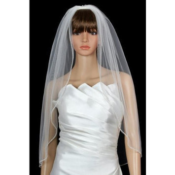 Bridal Wedding Veil Diamond (Off) White 1 Tier Fingertip Length Rhinestone Edge by Velvet Bridal