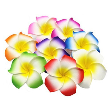 Ewandastore 100 Pcs Diameter 3.2 Inch Assorted Color Artificial Plumeria Rubra Hawaiian Foam Frangipani Flower Petals for Weddings Party Decoration
