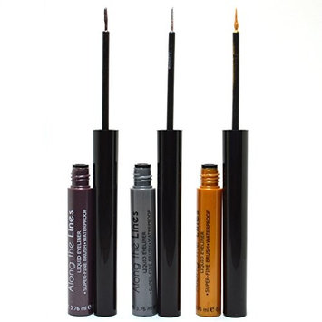 Kleancolor 3 in 1 Set Eyeliner Colorful Liquid Eye liner Super fine Brush Waterproof + Free Earring (Mauve , Silver , G