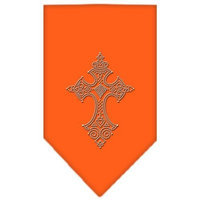 Mirage Pet Products 6722 SMOR Cross Rhinestone Bandana Orange Small