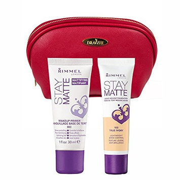 Two Piece Kit Rimmel Stay Matte Foundation True Ivory and Stay Matte Primer with Deep Red Draizee Leather Cosmetic Bag