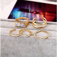 5 Pcs Suit ring female joint ring With the blue or white stone