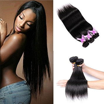 Shengmeiyuan Beauty Hair Show 8-30 Inches 3 Bundles With Closure Brazilian Straight Virgin Hair Grade 9A 100%Unprocessed Virgin Brazilian Human Hair Weave Extensions Natural Color