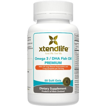 Xtendlife Omega 3 DHA Premium Fish Oil. New Zealand Fish Oil with Extra Strength DHA, Lycopene, and Astaxanthin For Anti-Aging and Skin Support (60 Gluten Free Softgels).