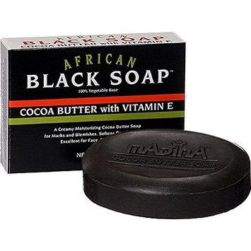 Madina African Black Soap Cocoa Butter with Vitamin E, 3.5 oz
