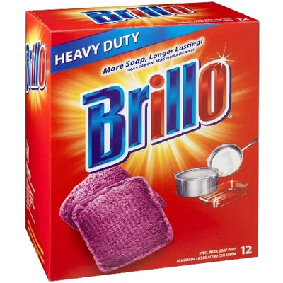 Brillo Heavy Duty Steel Wool Soap Pads, Original Red Scent, 12-Count