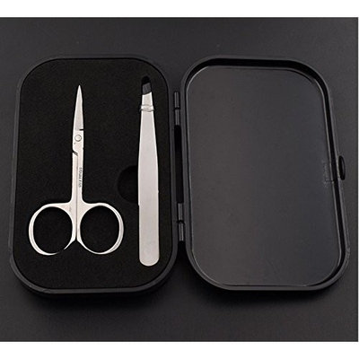 LETB Tweezers and Scissors Shaping Set for Eyebrow Ingrown Hair Removal in Hard Case