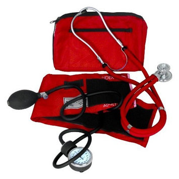 Dixie EMS Blood Pressure and Sprague Stethoscope Kit, Red