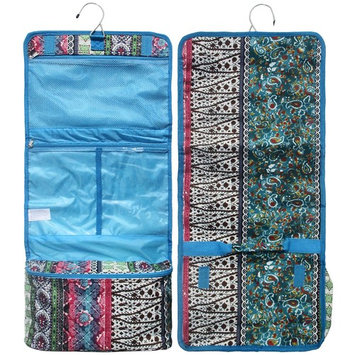 Best Turquoise Quilted Look Boho Hanging Toiletry Cosmetic Makeup Jewelry Travel Bag Case Fun Sweet Wedding Accessories Gift Idea Under 20 Dollar for Wife Women Her