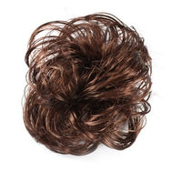 Zehui Hair Extension Pony Tail Bride Bun Hairpiece Fake Hair Scrunchie Wavy Wine Red