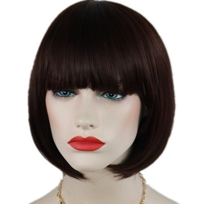 Brown Bob Wig and A Wig Cap, Short Straight Flat Bangs Cosplay Party Wigs Sexy Stylish Party Hair- wig003DB