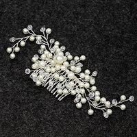 Simdoc Wedding Bride Hair Comb,Women Handmade Pearl Hair Accessories