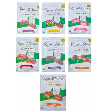 Russell Stover Sugar Free America's favorite Chocolate Candy Assorted Flavors Mega Mix edition Net Wt 3 Oz Pack of 7