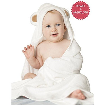 Organic Bamboo Baby Hooded Towel Set with Washcloth - Ultra Soft with Cute Ears Hood - Large Hooded Towel for Kids - Baby Towel for Boy Girl - Newborn Infant Toddler - for Bath Beach - a Shower Gift