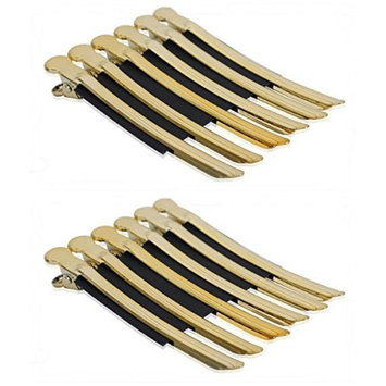 AKOAK 12 Pcs/Pack Professional Hairdressing Salon Hair Styling Stainless Steel Hairdressing Duck Bill Alligator Clips Fashion Styling Tools(G