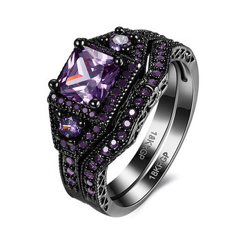 Danielle Purple Gorgeous Wedding Ring Set Black Plated - Ginger Lyne Collection