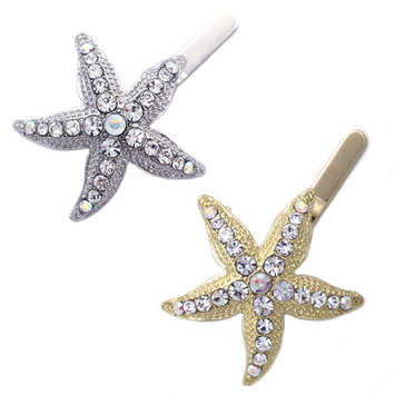 cocojewelry Beach Party Small Starfish Flower Girl Bridesmaid Magnetic Hair Clip Pin Set
