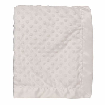 Baby Starters Textured Dot Blanket with Satin Trim, White