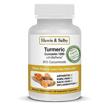 Hewis & Selby Turmeric Curcumin Capsules - 95% Standardized Curcuminoids & Black Pepper - 60 Veggie Caps - Natural Joint Pain Relief & Anti-Inflammatory - Made in USA