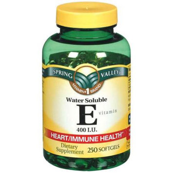 Spring Valley Vitamin E 400 I.U. Water Soluble Softgels Dietary Supplement 250 ct