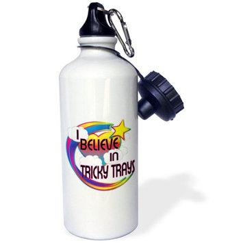 3dRose I Believe In Tricky Trays Cute Believer Design, Sports Water Bottle, 21oz