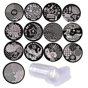 Biutee Nail Art Stamping (13pcs randomly from 20 kinds of plates) Stainless Steel Image Plates and Clear Jelly Stamper Scraper Set Nail Stamp Template Nail Tools