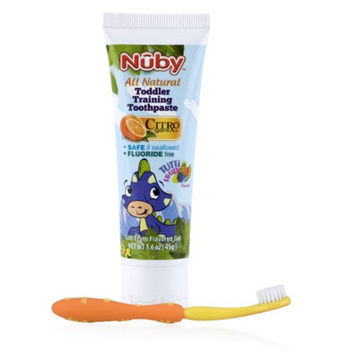Nuby All Natural Toddler Toothpaste with Citroganix with Toothbrush - Orange/Yellow