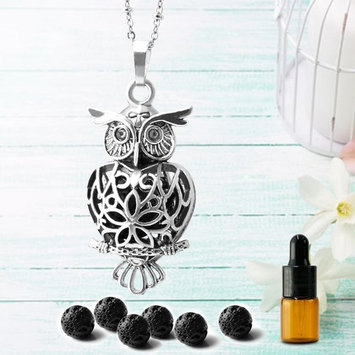 """Maromalife Owl Diffuser Necklace, Essential Oil Pendant Locket Magnetic Closer, 6 Black Lava Stones, A Small Bottle Gift, 25.5"""" Adjustable chain-Silver"""