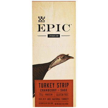 Epic Bar, Turkey Strip Cranberry + Sage, 20 Strips 0.8 oz (23 g) Each [Flavor : Turkey Cranberry + Sage]