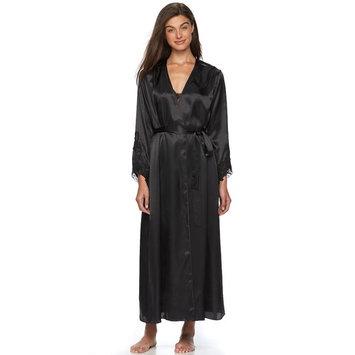 Women's Flora by Flora Nikrooz Lace-Trim Charmeuse Long Robe