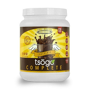 Tsogo Complete Meal Replacement Powder w/16g of Plant Based Protein/Serving, Rich Chocolate Flavor, Soy, Gluten & Dairy Free, High Fiber, Low Carb, 210 Cal/Serving(1 Tub, 20 Servings, 36oz 1.02kg)