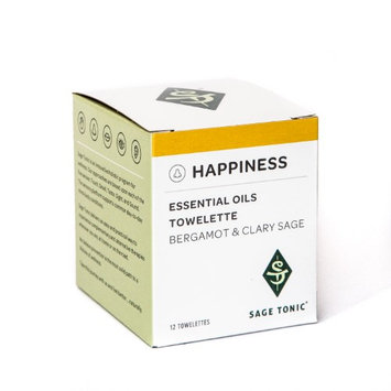 Sage Tonic Happiness Essential Oils Towelette - Bergamot & Clary Sage - Refreshing, Cleansing, Individually Wrapped, Wet Wipes (6 Boxes) (Pack of 6)