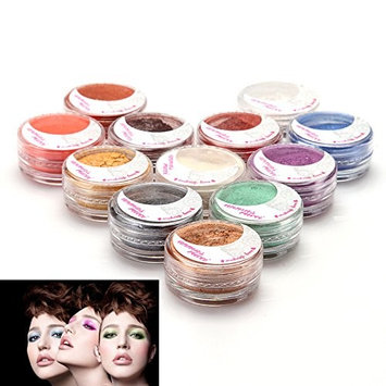 12 Color Individual Mineral Loose Powder Set for Eye / Face / Body Makeup