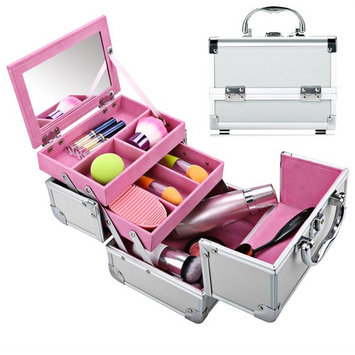 Mini Makeup Train Case with Mirror Portable Aluminum Cosmetic Organizer Box 2 Trays Pink