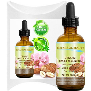 ORGANIC SWEET ALMOND OIL 100% Pure / Virgin / Unrefined Cold Pressed Carrier Oil. 2 oz-60 ml. For Face, Hair and Body.