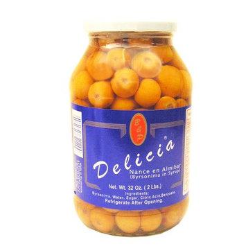 Las Delicias Delicias Yellow Cherry 32 oz Nance en Almibar (Pack of 12)