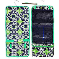 Best Navy Green Damask Large Hanging Toiletry Kit Cosmetic Travel Bag New Summer Camping Day Accessories Unique Last Minute Weird Great Gift Idea Under 20 Dollars for Brother Boy Dad Husband Him Son