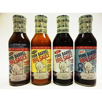 Pork Barrel BBQ Sauce Sampler Pack- Original, Mustard, Sweet and Carolina Vinegar 14oz