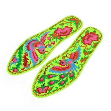 Bright Green Embroidery Phoenix Prints Stitch Insoles Pair 41 for Man
