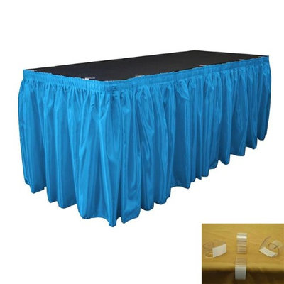 LA Linen SkirtBridal14X29-10Lclips-TurquoiseB52 Bridal Satin Table Skirt with 10 L-Clips Turquoise - 14 ft. x 29 in.