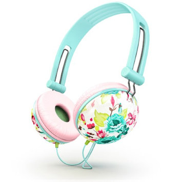 Ankit Pastel Mint Pink Floral Noise Isolating Headphones