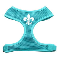 Mirage Pet Products 7012 LGAQ Fleur de Lis Design Soft Mesh Harnesses Aqua Large