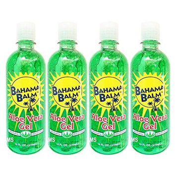 Set of 4 Bahama Balm 16oz Aloe Vera Gel After Sun Skin Care - Cools & Soothes - Helps Minimize Drying and Peeling Skin!