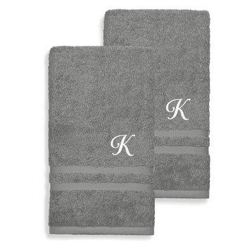 Denzi Cotton Hand Towels - Set of 2 by Linum Home Textiles [monogram_letter: monogram_letter-k]