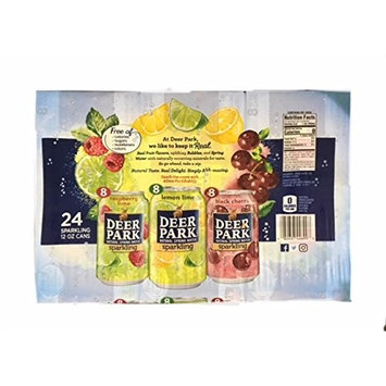 Deer Park Sparkling Spring Water Variety 24 Pack (Raspberry lime 8ct. Lemon Lime 8ct. Black Cherry 8ct.)