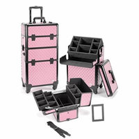 Seya Pro Aluminum Cosmetic Makeup Case 4 Wheeled Spinner w/ Adjustable Dividers (Pink Diamond)
