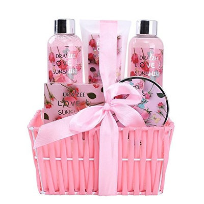 Spa Gift Basket for Woman with Refreshing Lovely Rose Fragrance by Draizee – Luxury Skin Care Set Includes Lotions, Creams, Bubble Bath and Much More! #1 Best Gift Idea for Wife, Mom and Girl Friend [Rose]