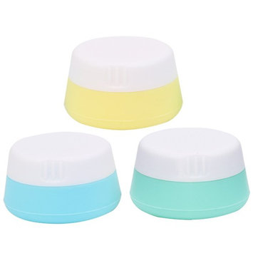 Rockrok Travel Containers, Squeezable Toiletry Containers TSA Approved Silicone Cream Jar with Sealed Lids for Cosmetics, Shampoo, Lotion, Conditioner ( Pack of 3 )