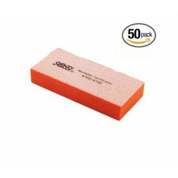 Sassi 2way Mini Emery Block White/Orange, 100/150, 50 pieces, Nail polishing block, nail buffer, quick shine, sanding file, nail art, shiner, buffer, buffing, manicure, pedicure