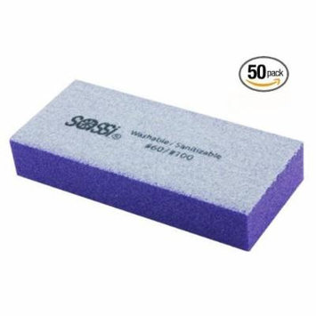Sassi White/Purple 2 Way Mini Emery Block 60/100 Grit - 50 pieces, Nail polishing block, nail buffer, quick shine, sanding file, nail art, shiner, buffer, buffing, manicure, pedicure